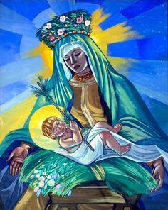 Learn Polish, Bright Art, Holy Mary, Sacred Art, Painters, Poland, Disney Characters, Fictional Characters, Folk