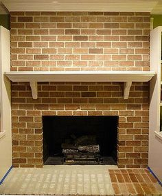 Faux Painted Brick Over White Fireplace - Remodelaholic | Remodelaholic
