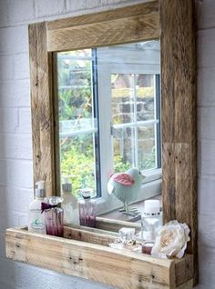Pallet Ideas Pallet Wood Mirror Frame with Storage - Reclaimed wood, galvanized metal, rough stone and cast iron are all part of rustic bathroom decor ideas. See the best designs and try them at home! Rustic Bathroom Mirrors, Bathroom Mirror With Shelf, Rustic Bathroom Designs, Wood Framed Mirror, Rustic Bathrooms, Bathroom Ideas, Pallet Bathroom, Diy Mirror, Mirror Vanity