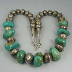 Vntg Navajo Stamped SLVR Bead Turquoise Nugget Necklace | eBay