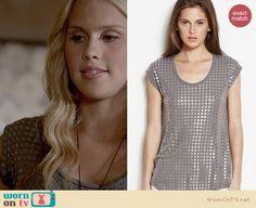 Rebekah's grey metal eyelet covered top on The Originals. Outfit Details: http://wornontv.net/22057 #TheOriginals