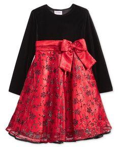 Blueberi Boulevard Flocked Sequin Party Dress, Little Girls (2-6X) & Toddler Girls (2T-5T)