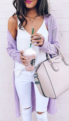 #spring #outfits Purple Cardigan & White Silk Tank & White Ripped Skinny Jeans