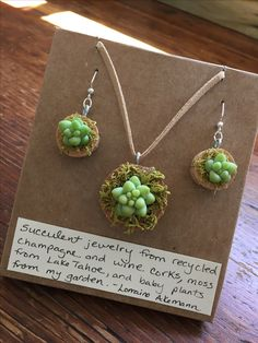 Succulent jewelry from champagne corks.