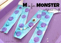 School Time Snippets: M is for Monster Alphabet Craft for Preschoolers. Fun way to teach the alphabet! Pinned by SOS Inc. Resources. Follow all our boards at pinterest.com/sostherapy/ for therapy resources.