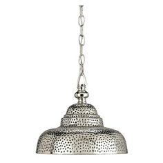 Currey and Company Lowell Transitional Pendant Light - A traditional pendant form is translated with the use of a new material of pierced brass, so that it adopts an eastern air. The nickel plated brass is coated with a thick lacquer to prevent oxidation.