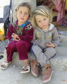 Yazidi Kurdish Girls in a Refugee Camp in Iraq.