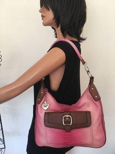 Sharif Leather Bag Ombre Pink Designer Fashion Silver Heart Charm #Sharif #ShoulderBag