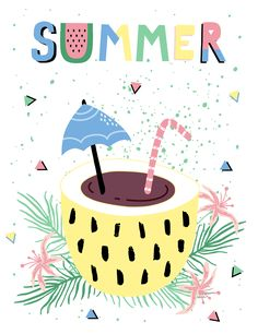 Hello Summer Poster with coctail and tropic leaves and flowers. Vector illustration