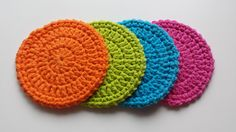 Crochet Coasters - Set of 4 - Summer Brights by LuckyfootDesigns on Etsy
