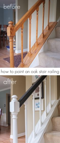 How to paint an oak stair railing black and white Painted Stair Railings, Black Stair Railing, White Banister, White Staircase, Stair Banister, Indoor Stair Railing, Stair Walls, Diy Home Improvement, Refinish Staircase