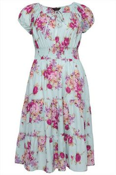 Light Turquoise Large Floral Print Dress With Tiered Skirt