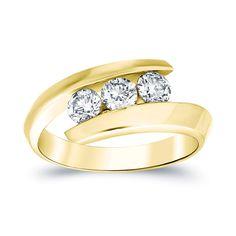Auriya 14k Gold 3/4ct TDW 3-stone Round Diamond Ring