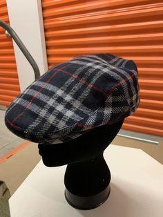 508d596e Burberrys Vintage Mens 7 5/8 Wool Blue Nova Check Plaid Newsboy Cap Hat #