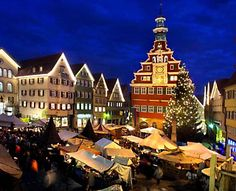 Best Christmas Markets in Europe:    Esslingen, Germany: The massive, 318-year-old market, set amid the city's gabled houses hung with fir branches and angels, sprawls across several historic center squares between the Gothic cathedral and ivy-clad castle.
