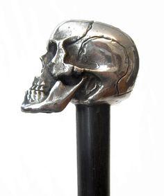 Silver Skull Walking Stick Walking Sticks And Canes, Walking Canes, Badass Skulls, Skull Scarf, Bottle Openers, Walk This Way, Big Hugs, Skull And Bones, Bel Air