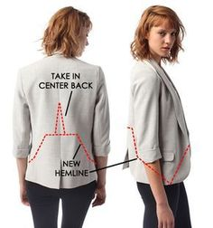 Blazer Alteration – Earlier than and After - Refashion Techniques Couture, Sewing Techniques, Sewing Hacks, Sewing Tutorials, Umgestaltete Shirts, Sewing Alterations, Tsumtsum, Shirt Refashion, Thrift Store Refashion