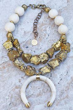 Moon Goddess: Mystic Gold Quartz, African Brass and Ox Bone Crescent Choker Necklace Tribal Necklace, Tribal Jewelry, Beaded Necklace, African Jewelry, Bead Jewellery, Quartz Rock, Dragon Pendant, Crazy Lace Agate, Turquoise Stone