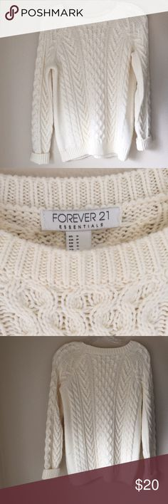 Cream Chunky Knit Sweater The perfect cozy, chunky, soft sweater! Only worn probably two or three times and in perfect condition with no stains! Forever 21 Sweaters Crew & Scoop Necks