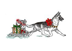 German Shepherd Christmas Card by Funny Bones Slightly Silly Greeting Cards. This 5 x 7 card is printed on premium card stock and comes with a white envelope.  Funny Bones Cards are drawn by Pat Rapple and feature over 20 AKC registered breeds.  Will Davis Studios charges a flat rate of $2.00 per order with no limit on the number of items. ​​​​​​​