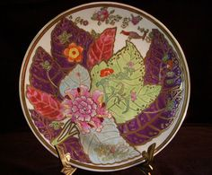 Vintage Asian Enamel Tobacco Leaf Plate Chinese by GSaleHunter