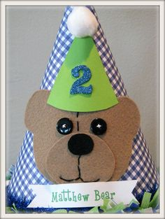 Handmade Teddy Bear Birthday Party Hat.. how cute for 'Logi Bear'!