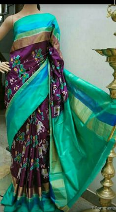 Pochampally ikkat silk Saree made on Handloom..fine quality silk