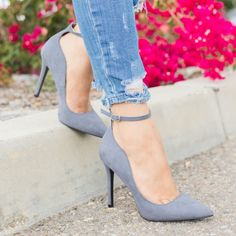 fab8b30c437 Wavy Ankle Strap High Heels - Qupid Shoes Show-08 Grey Shoes Heels