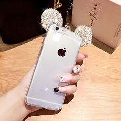 Rhinestone 3D Mickey Mouse Ears Case For iPhone 7 Plus 6 6S Plus SE 5 5S