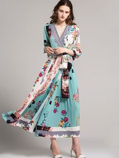 81eac0dcaeda Just Shop for Printing V-Neck Long Sleeves Maxi Dresses from Jollyhers  Online now