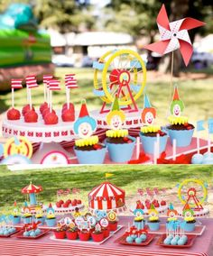 Carnival party in bright red and blue combination: it lends a vintage charm. Get under the big top with these carnival party ideas.