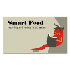 Shop chile pepper reading smart food business cards created by chefcateringbizcards. Personalize it with photos & text or purchase as is! Text Style, Eat Smart, Business Names, Cooking Classes, Health And Nutrition, Business Card Design, Chile, Books To Read, Stuffed Peppers