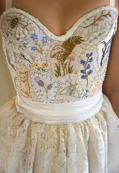 Meadow Bustier Wedding Gown or Formal Dress... boho whimsical woodland country vintage prom formal hand embroidered eco friendly