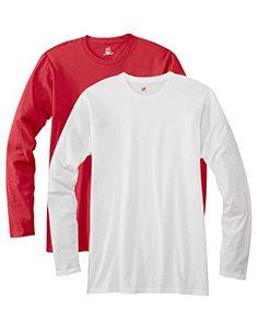 Hanes mens 4.5 oz. 100% Ringspun Cotton nano-T Long-Sleeve T-Shirt(498L)-DEEP RED/WHITE-L - http://www.darrenblogs.com/2016/12/hanes-mens-4-5-oz-100-ringspun-cotton-nano-t-long-sleeve-t-shirt498l-deep-redwhite-l/