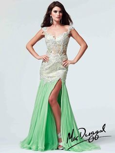 Mac Duggal lime green gown available now at Asiye's Boutique! Style #61666M.  #asiyesboutique #macduggal #prom #prom15