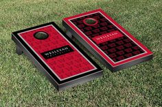Wesleyan Cardinals Repeat Logo Wallpaper Cornhole Set