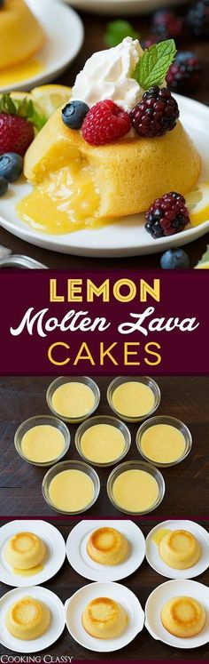 Lemon Molten Lava Cakes - Made with white chocolate and lemon curd.