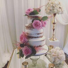 Semi Naked Wedding Cake Design with Fresh Flowers