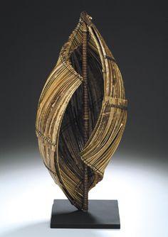 """Charissa, Brock, Hearing the Sea,   2005, Black bamboo, waxed linen, thread, steel, 21"""" x 10"""" x 10"""""""