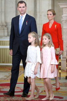 (L-R) Spanish Crown Prince Felipe with his two daughters Infanta Leonor, Infanta Sofia and his younger sister Infanta Elena attends the official abdication ceremony at the Royal Palace, 18.06.2014 in Madrid, Spain.