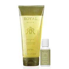 Royal Olive Bath & Shower Gel Duo - JAFRA  Find the perfect gift for your loved ones  Includes: Royal Olive Bath & Shower Gel   6.7 fl. oz. Royal Olive Bath & Shower Gel Mini   1.35 fl. oz. FREE Limited Time Translucent Floral Bag