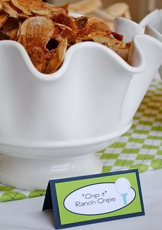 cute idea for chips at golf party or just one part of a sports party food table!