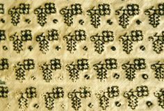 Linen, embroidered in black silk.  Coif: one length of material shaped at each end, folded in half, openwork seaming from edges half way to fold at top; hem at lower edge with drawstring, small sections of linen inside lower corner for reinforcement; embroidery worked diagonally in sprig pattern of leaves and Tudor roses, alternating with dots in back, buttonhole and knot stitches.  Forehead cloth: triangular with small tabs at each end of long side; embroidered as coif; pin markings in tabs…