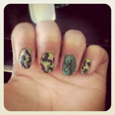camo nails with the browning logo