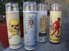 LOTERIA DAY OF THE DEAD DIA DE LOS MUERTOS ALTAR MEXICAN CANDLES