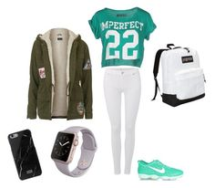 """""""school outfit"""" by too-young-to-waist-time on Polyvore featuring 7 For All Mankind, NIKE, !M?ERFECT, JanSport, Topshop, women's clothing, women, female, woman and misses"""