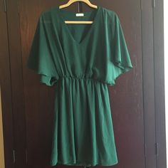 Anthropologie Small Green Silk Dress Excellent Condition, Cinched Waist, Everly Brand Anthropologie Dresses Mini