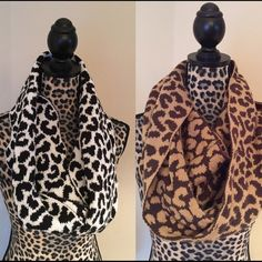 NWOT Knit scarf pair These have never been worn. 100% acrylic machine knit. Perfect condition. Tan with dark brown and then black and white. Animal print. Berkshire Fashions inc  Accessories Scarves & Wraps
