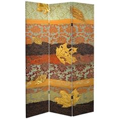 Tall Double Sided October Gold Canvas Room Divider Screen