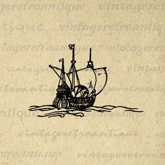 Printable Graphic Antique Ship Download Image Digital Illustration Vintage Clip Art. Digital graphic from antique artwork. This high resolution, high quality printable digital image can be used for printing, iron on transfers, and much more. This graphic is large and high quality, size 8½ x 11 inches. Transparent background version included with every digital image.
